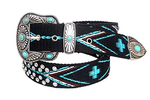 [Montana West Womens Woven Belt Aztec Collection Turquoise Stone Conchos, Medium] (Concho Collection)