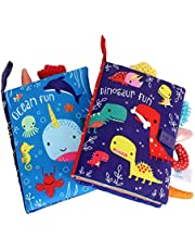 ORAPOH Dinosaur and Ocean Tail Baby Early Education Toy, Activity Crinkle Cloth Book for Toddler, Infants and Kids Perfect for Baby Shower (2 Packs)