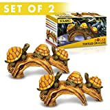 Solar Powered Turtles on Log Decoration- Set of 2- Ultra Durable Polyresin- Intricate Detailing- Wireless Outdoor Accent Lighting- Best Decor Ornaments for Garden/ Yard/ Water Feature (2)