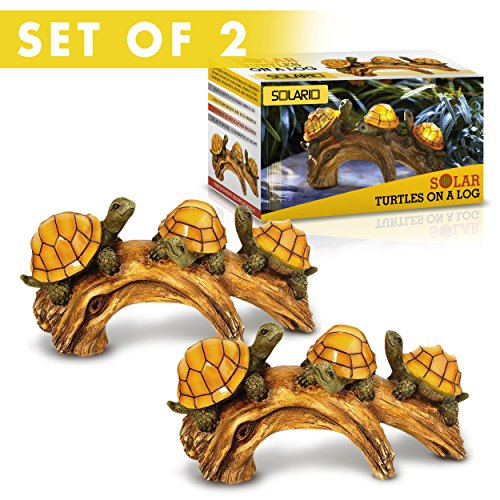 Solar Powered Turtles on Log Decoration- Ultra Durable Polyresin- Intricate Detailing- Wireless Outdoor Accent Lighting- Best Decor Ornaments for Garden/ Yard/ Water Feature (Outdoor Accents)