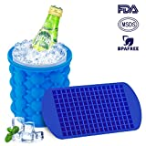 Ice Cube Maker Genie, Magicfly (5 X 5.5 Inch) Silicone Ice Cube Genie Bucket with Ice Cube Trays for Chilling Whiskey, Cocktail, Beverages, Non-Toxic, Blue