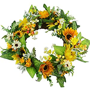 Ogrmar Artificial Flower Wreath/Handmade Floral Artificial Simulation Flowers Garland Wreath for Home Front Door Christmas Wedding Party Decoration (Sunflower) 6