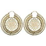 81stgeneration Women's Brass Gold Tone Indian Cosmic Yantra Ethnic Tribal Large Earrings
