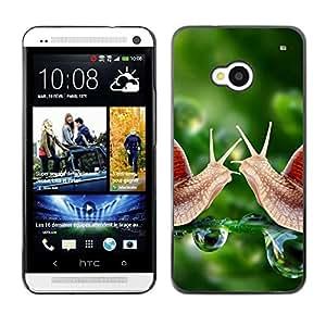 Be Good Phone Accessory // Dura Cáscara cubierta Protectora Caso Carcasa Funda de Protección para HTC One M7 // Snail Green Dew Nature Green Spring