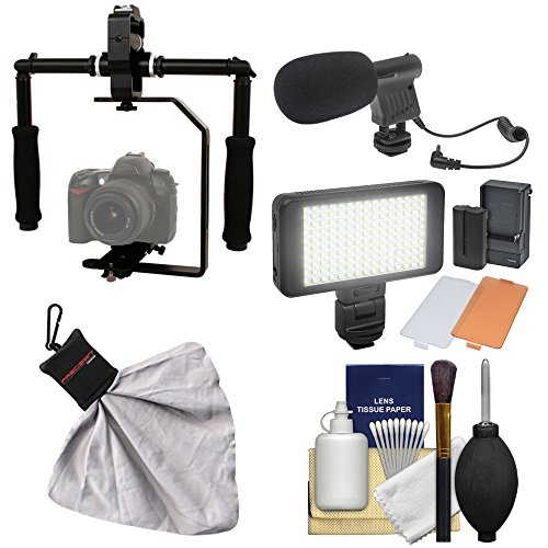 - RPS Studio FloPod Digital SLR Camera Video Stabilizer Bracket with LED Video Light & Microphone + Kit