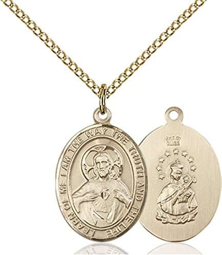 Patron Saints by Bliss 14K Gold Filled Scapular Medal Pendant, 3/4 Inch