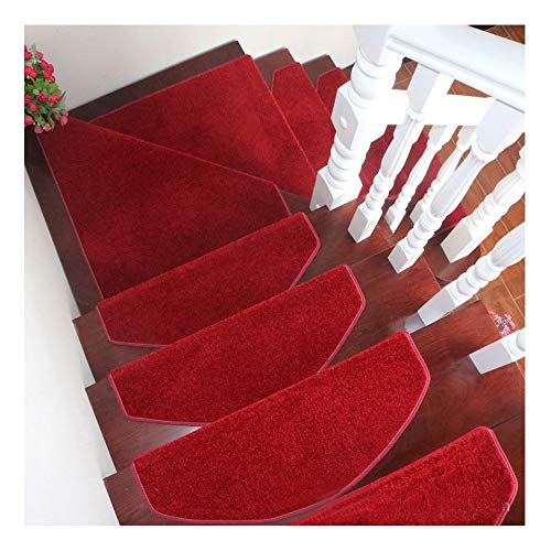 YXUD Non Slip Stair Carpet Tread | 24 x 65cm | Red | Offer A Variety of Styles | Durable, Non-Slip, Protection Pads | Rug for Stair Tread
