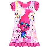 ZHBNN Trolls Toddler Little Girls Nightgown Cartoon Pajamas Princess Dress(Rose,140/9-10Y)