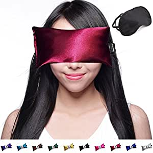 Hot Cold Lavender Eye Pillow and Eye Mask for Sleep, Yoga, Migraine Headaches, Stress Relief. By Happy Wraps - Ruby