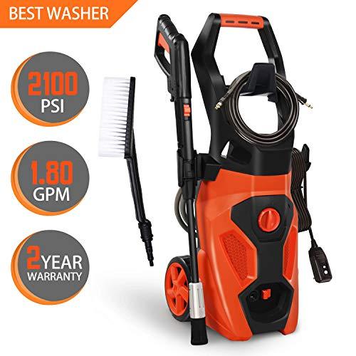 ENSTVER Electric Pressure Washer,2100PSI 1.8 GPM 1800W Power Cleaner Machine Hose Reel,Spray Gun,Spray Brush,Nozzles Onboard Detergent Tank