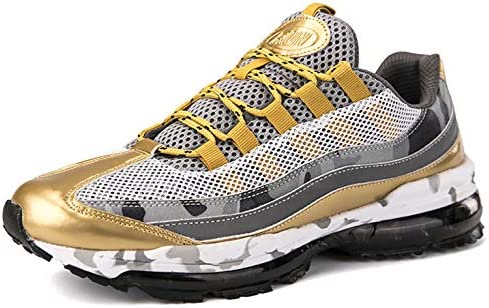 Ezkrwxn Men mesh Sport Walking Shoes Breathable Comfort Fashion Casual Tennis Trail Sneakers Gym Jogging Running Trainers Gold Size