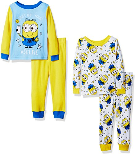 Despicable Me Toddler Boys' 4-Piece Cotton Pajama Set, Minion Yellow, 4T