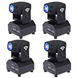 4PCS Lixada Total 50W LED Moving Head Light RGBW DMX512 Rotating Stage Effect Lamp, Sound Activated Master-slave Auto Running 11/13 Channels Color Changing Beam Light for Disco KTV Club Party