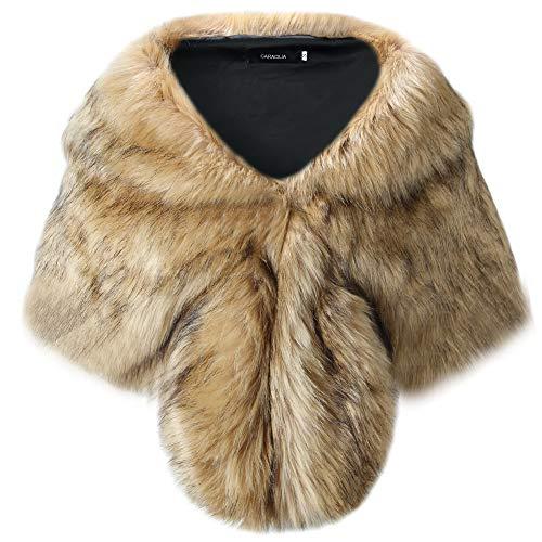 Caracilia Warm Faux Fur Wedding Shawl Wrap for Wedding Party Show huangdiheijian1 S - Plus Suit Fur Size