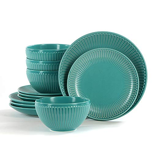 Stoneware Table - Porcelain Dinnerware Sets for 4,Stoneware Dinner/Salads Plates Bowls Dishes Sets(Turquoise)