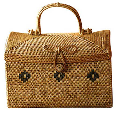 Cosmetic Display Cases Storage Box Girl's Favorite Gift Hand-Woven Suitcase Cosmetic Storage Box Indonesian Rattan Basket Handcuffs Packaging Storage Basket Tea Storage Box Cases
