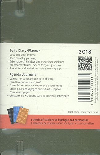 Moleskine 12 Month Daily Planner, Pocket, Elm Green, Hard Cover (3.5 x 5.5)