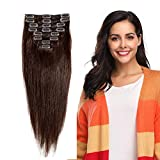 Clip in 100% Remy Human Hair Extensions 10'-24' Grade 7A Quality Full Head 8pcs 18clips Short Soft Silky Straight for Women Fashion 10' / 10 inch 70g, 2 dark brown
