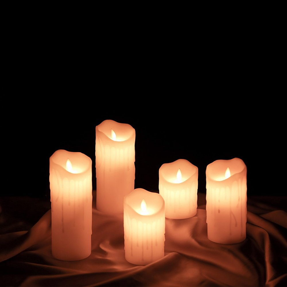for Wedding Ivory ETRONIC Real Wax 3D Dancing Flame Tear Wave Shaped Flickering Flameless Battery Powered LED Pillar Dripless Motion Candle 3 x 8 Parties Events Romantic Decorations 3 x 8 ETRW3DTW38