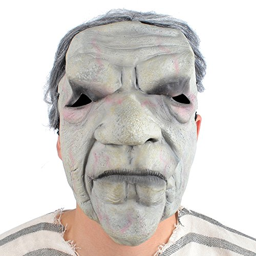 Men's Zombie Mask with Hair Evil Old Man Costume Halloween Adult Size Men and (Old Man Skin Halloween)
