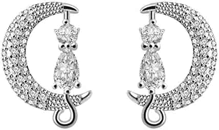dccb3075e YEDUO Cat on Moon Stud Earrings Cubic Zircon Silver Crescent Moon Cat  Earrings Cat Lovers Gift