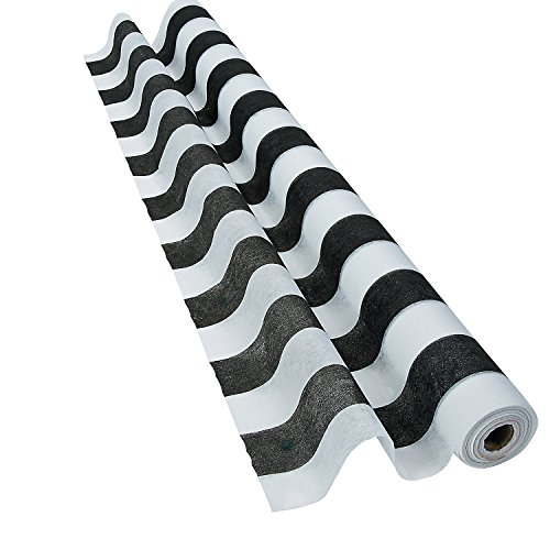 Fun Express Black and White Striped Gossamer Roll (3 ft x 100 ft) Wedding and Party Decorations