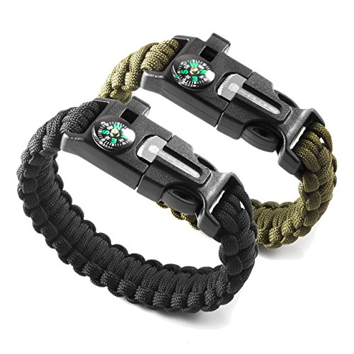 X Plore Gear Emergency Paracord Bracelets | Set Of 2| The ULTIMATE Tactical Survival Gear| Flint Fire Starter, Whistle, Compass & Scraper/Knife| BEST Wilderness Survival Kit For Camping/Fishing & More