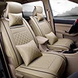 Super PDR 9Pcs Full Set PU Leather Deluxe Automotive Car Seat Covers Set Cushions Front Rear Universal fit for Vehicles,Cars,SUV elastic sponge Inside(Beige S)