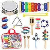 Kids Musical Instruments with Xylophone Tambourine for Kids, Toddler Wooden Percussion Toy Set for Kids Preschool Educational Early Learning with Free Carrying Bag by STYDDI