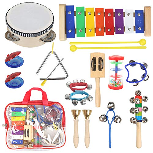(STYDDI Musical Instruments for Toddler – 11 Types 14pcs Wooden Xylophone Tambourine Set for Kids Preschool Educational, Early Learning Musical Toys for Boys and Girls with Storage Bag )