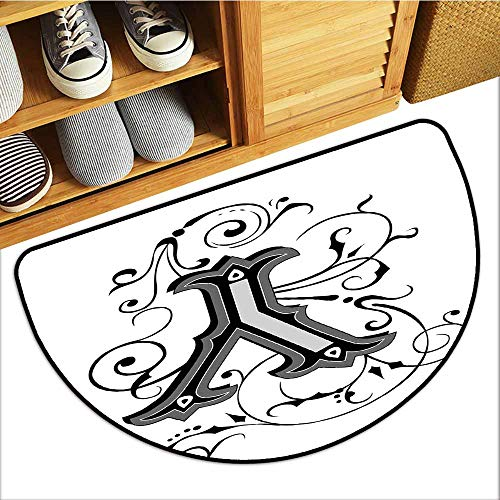 Pet Mat Machine Washable, Letter Y Decorative Imdoor Rugs for Office, Calligraphy Inspired Medieval Capital Letter Alphabet Symbol European Design ( Black Grey White, H24