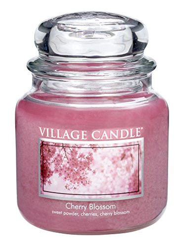 Village Candle Cherry Blossom 16 oz Glass Jar Scented Candle, Medium (16 Blossom Jar Ounce)
