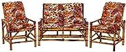 Sofá 2 Lugares 2 Cadeiras de Bambu Cancun Para Area Edicula Jardim G29