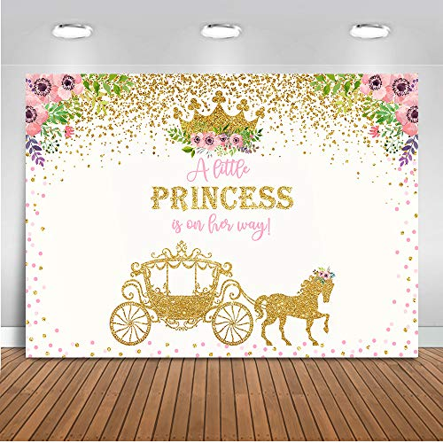 Mocsicka Gold Carriage Baby Shower Backdrop 7x5ft Vinyl Little Princess Gold Dots Baby Shower Photo Backdrops Gold Crown Floral Baby Shower Party Photography Background -