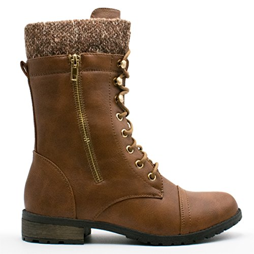 Forever Link Womens Mango-31 Runde Zehe Military Lace Up Knit Knöchel Manschette Low Heel Combat Boots Premierminister Brown
