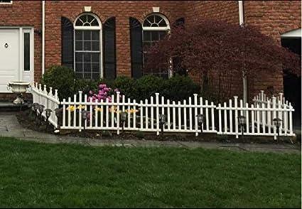 Nova Natural Small No Dig Fence, White Backyard, and Garden Fence, Easy Outdoor