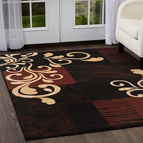 Home Dynamix Premium Nile Area Rug by Transitional Living Room Rug | Botanical Pattern Over Modern Design | Black, Brown, Beige 7'8 x 10'7