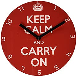 Refelx Non-Ticking Silent Acrylic Wall Clock, Small, Keep Calm and Carry on, Red