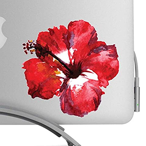 Watercolor Hibiscus Flower Artistic Full Color Painted Style 5 Inch Decal - Fits All MacBooks, Laptops, or Cars - For Indoor or Outdoor Use #1 Red And (Red Color Laptop)