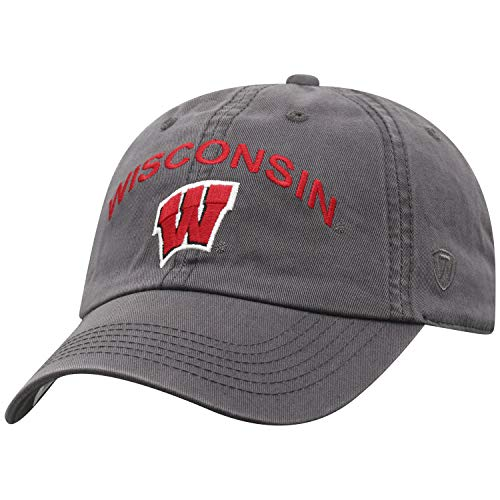 Top of the World NCAA Wisconsin Badgers Men's Relaxed Fit Charcoal Arch Adjustable Hat, Charcoal