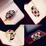 Sumanee Jewelry Colourful Fashion Crystal Rhinestone Finger Ring Dazzling Ring Rings Size 7