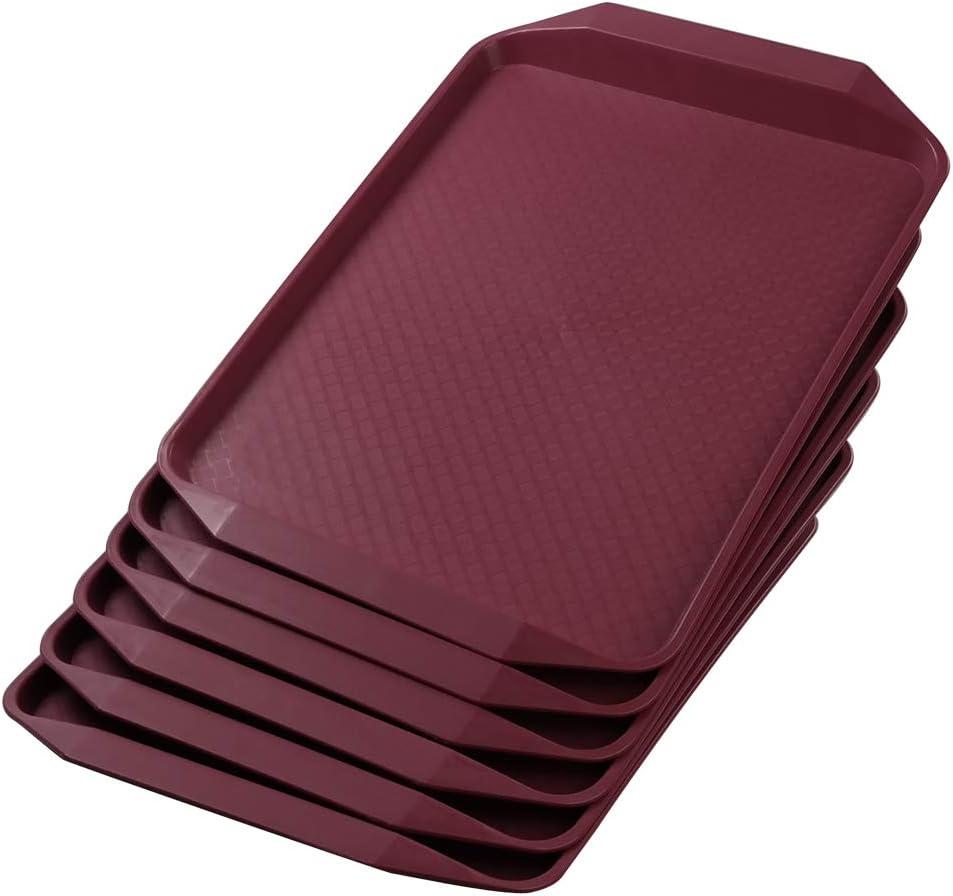 Rinboat Bandejas Rectangulares de Plástico para Servir Comida Rápida, Color Vino Tinto, 6 Unidades