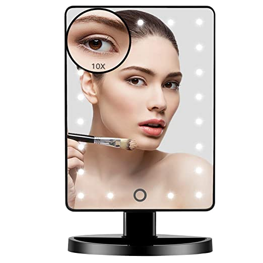 Vanity Lighted Makeup Mirror with 21 Led Lights Dual Power Supply, Cosmetic Desk Table Makeup Mirror with Detachable 10X Magnification, Touch Screen Light Adjustable Dimmable 180° Rotation(Black)