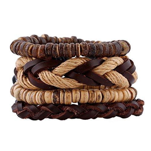 Injoy Jewelry Multi Strands Braided Leather Bracelets Hemp Cord Adjustable Wristband Coconut Shell Beads Bracelet Set of 4pcs (Shell Beads Coconut)