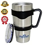 Premium Double Stainless Steel Tumbler with Handle Vacuum Double Wall Vacuum Sealed 30 oz / 887ML No Sweat Travel Mug Thermos BPA Free- Slim - Car Fit #1 Coffee Tumbler & Handle Platinum UMD