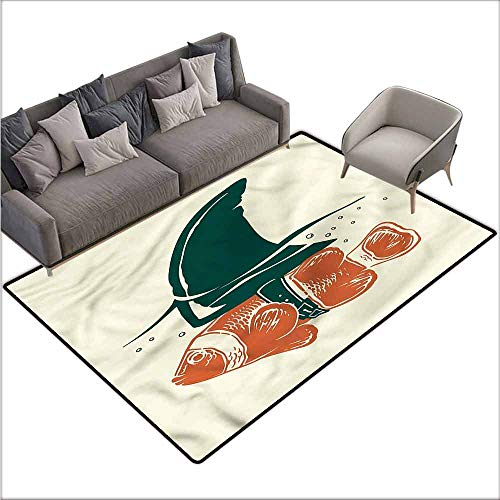 Front Mat Home Decorative Carpet Colorful Shark,Pop Art Clown Fish with Fin 36