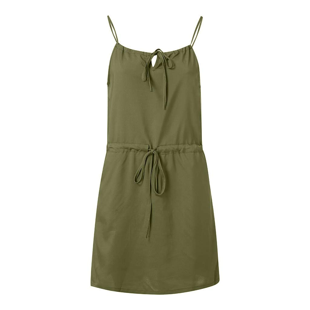 Womens Simple Solid Color Mini Dress Off The Shoulder Sling Comfort Stretch Summer Beach Party Strappy Dress