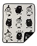 Moomin - Baby blanket, 100% cotton chenille -Little My & Stinky- black/white, 70x90 cm (Klippan) [2514-02]