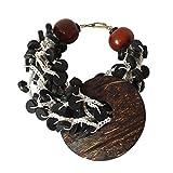 NOVICA Brass Plastic Coconut Shell Beaded Bracelet, 7.5'' 'Zebra'