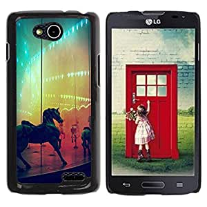 Paccase / SLIM PC / Aliminium Casa Carcasa Funda Case Cover - Horse Rainbow Fair Country Ride - LG OPTIMUS L90 / D415